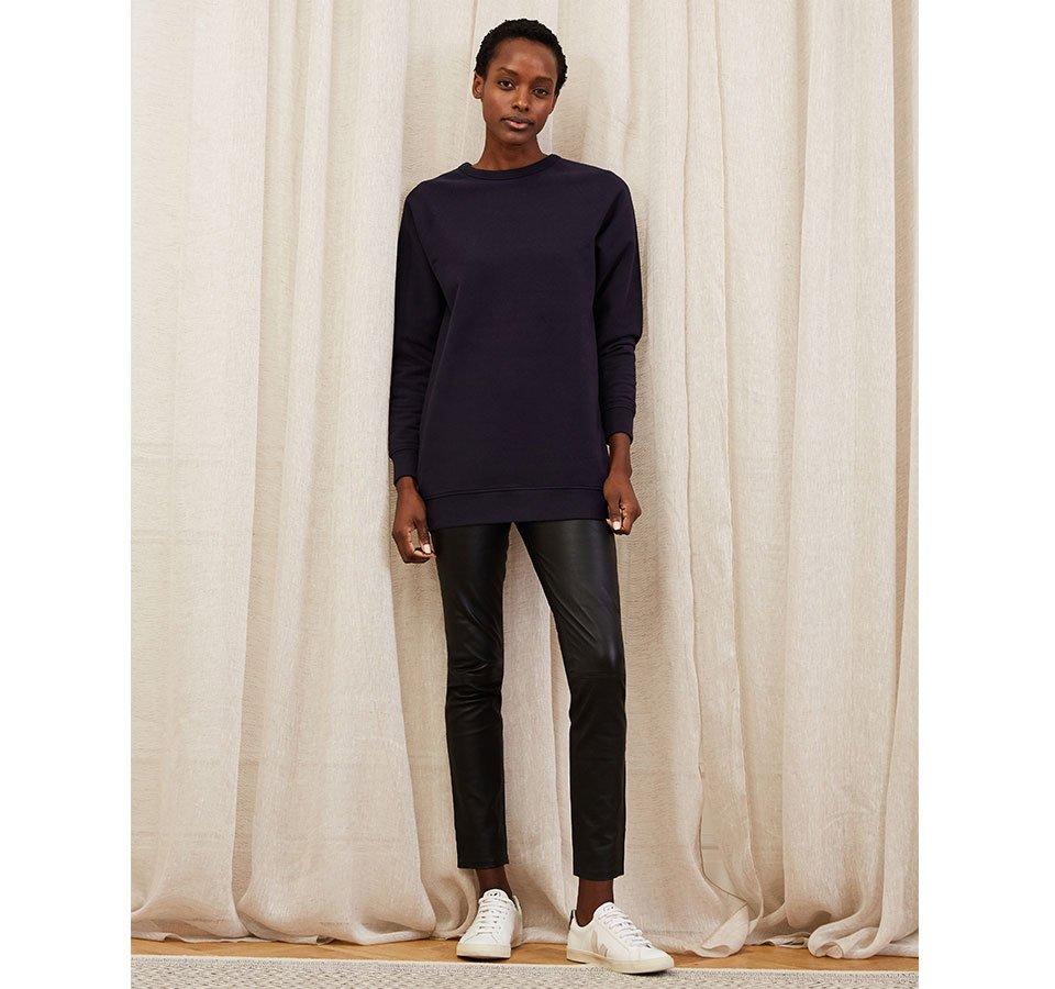 Shop Marte Organic Longline Sweatshirt Classic Navy, Liv Leather Leggings Caviar Black and more