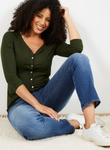 Shop Emme Ecovero™ Button Top Dark Khaki and more