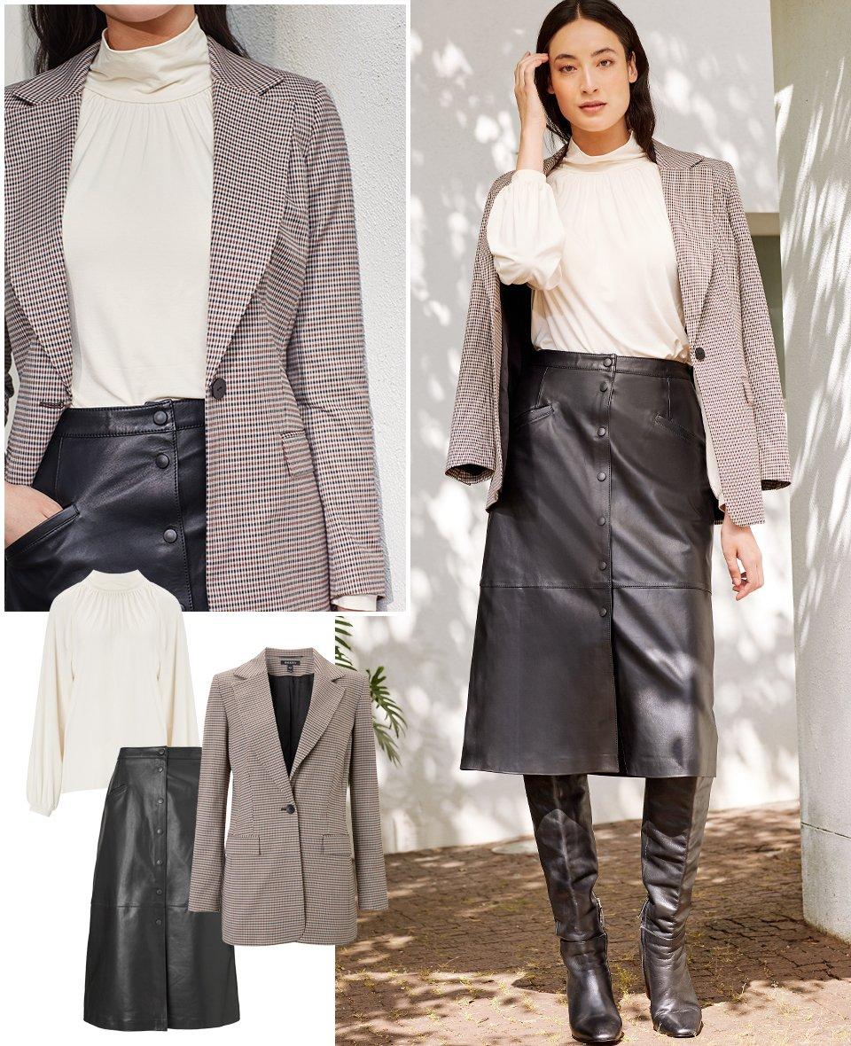 Shop Constance Top Cream, Kara Leather Button Skirt Caviar Black, Delilah Blazer Brown Tonal Check and more