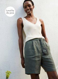 Shop Cecile Hemp Shorts Khaki and more