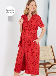 Shop Isabella Oliver Emmie Maternity Dress-Red & Black Polka and more