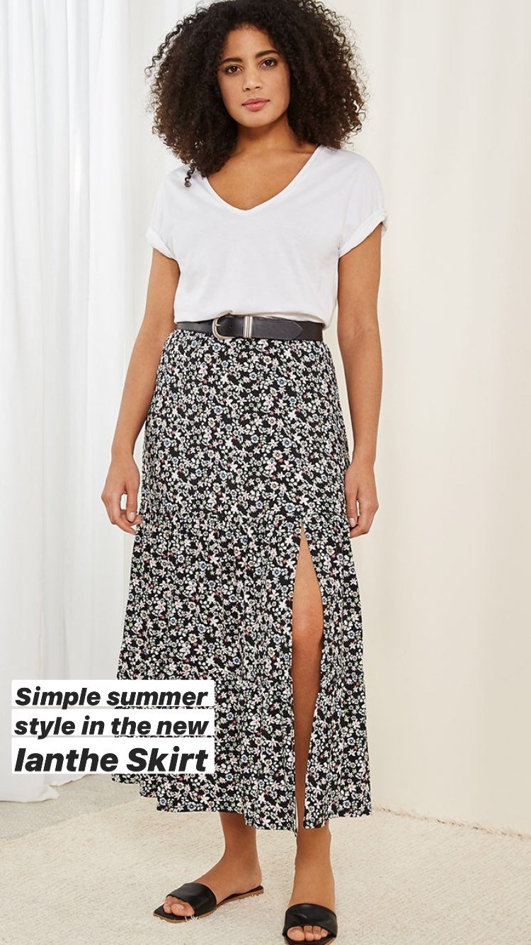 Shop Ianthe Skirt Black Spring Floral Print, Iona Organic Top Pure White, Baukjen Signature Silver Buckle Belt Darkest Navy and more