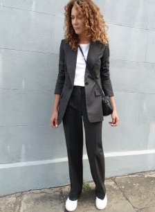 Shop Elizabeth Trouser Charcoal Pinstripe and more