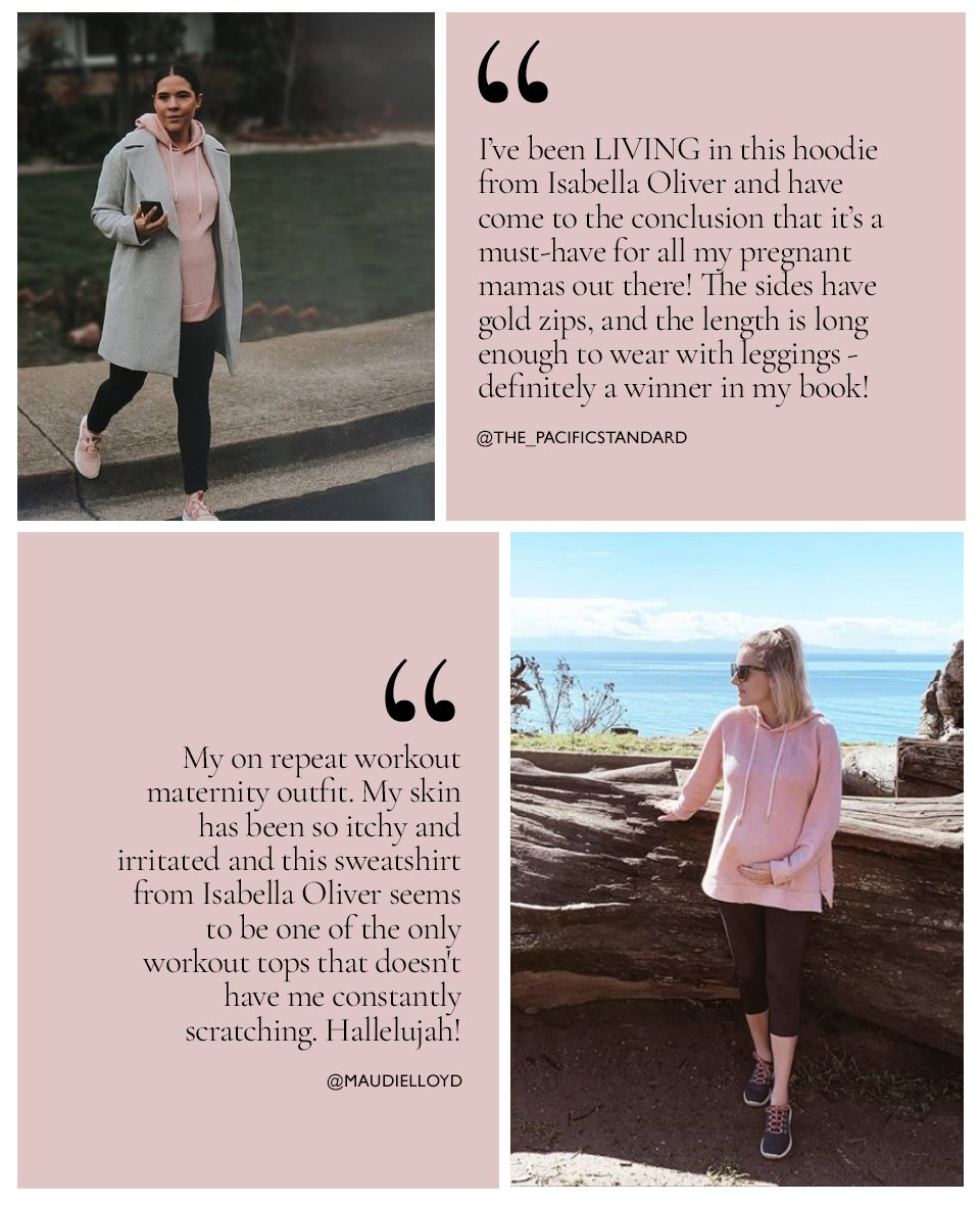 Shop Isabella Oliver Maternity Lounge Hoodie-Quartz Pink, Isabella Oliver Over the Bump Maternity Treggings-Caviar Black and more