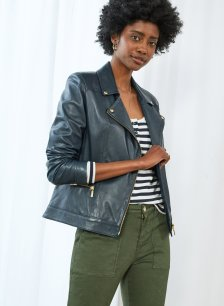 Shop Kara Leather Jacket Classic Navy and more