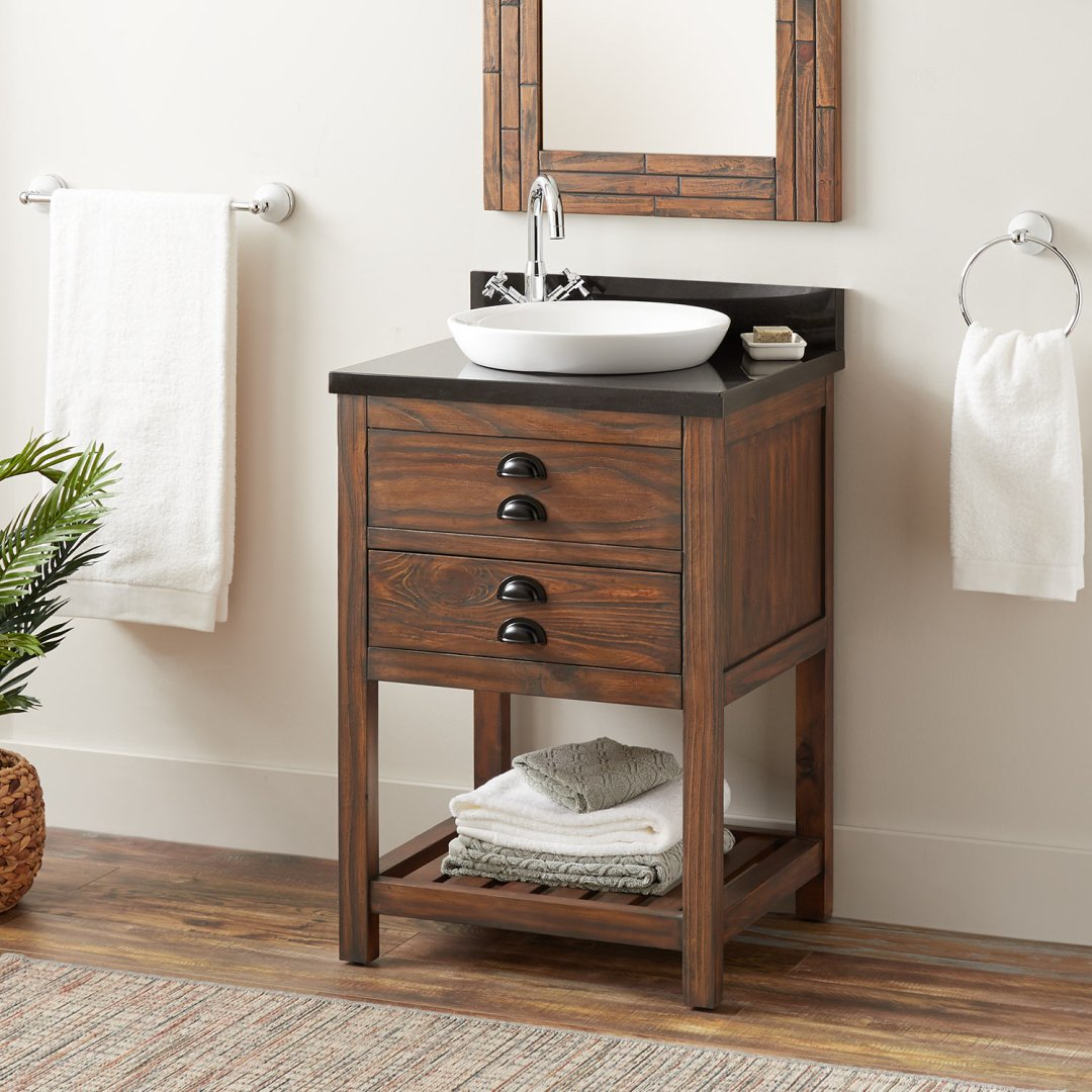 24 Ansel Console Vanity Semi Recessed Sink Farmhouse Brown