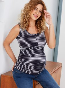 Shop Isabella Oliver Charlie Maternity Top-Navy & White Rib and more