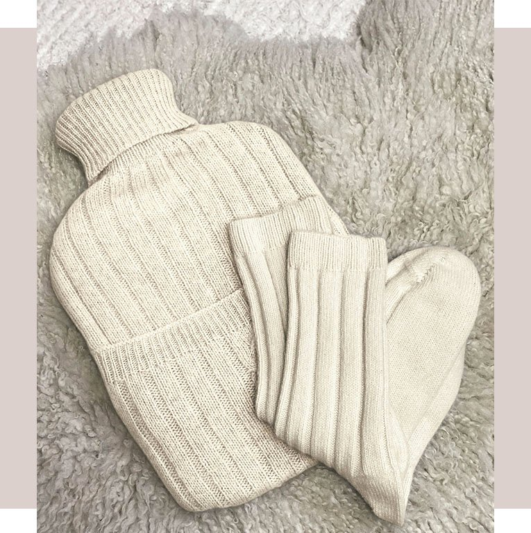 Shop Eco Cashmere Hot Water Bottle Cover Winter White, Eco Cashmere Socks and more
