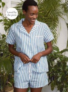 Shop Tami Organic Pyjamas Blue Stripe Print and more