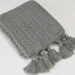 Aurora Home Knit Tassel Acrylic Throw Blanket (Grey)