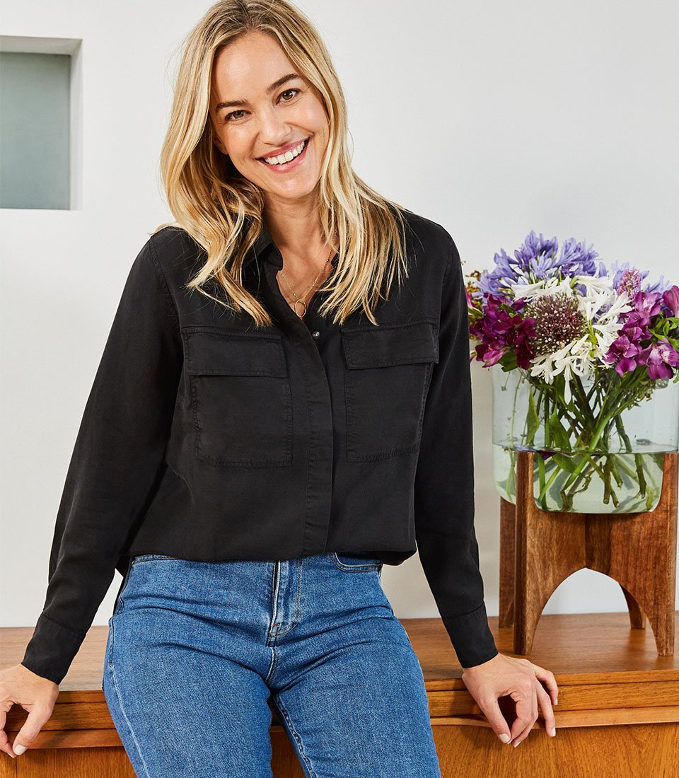 Shop The Girlfriend Jean Washed Blue, Alessandra Tencel™ Shirt and more