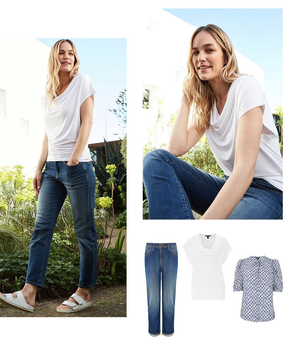 Shop The Organic Boyfriend Jean Indigo, Jill Top with LENZING™ ECOVERO™, Aphrodite Blouse with LENZING™ ECOVERO™ and more