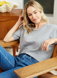 Shop Franka Cotton Top Grey Marl and more