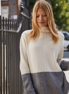Shop Maxine Colour Block Jumper Soft White & Mid Grey Marl and more