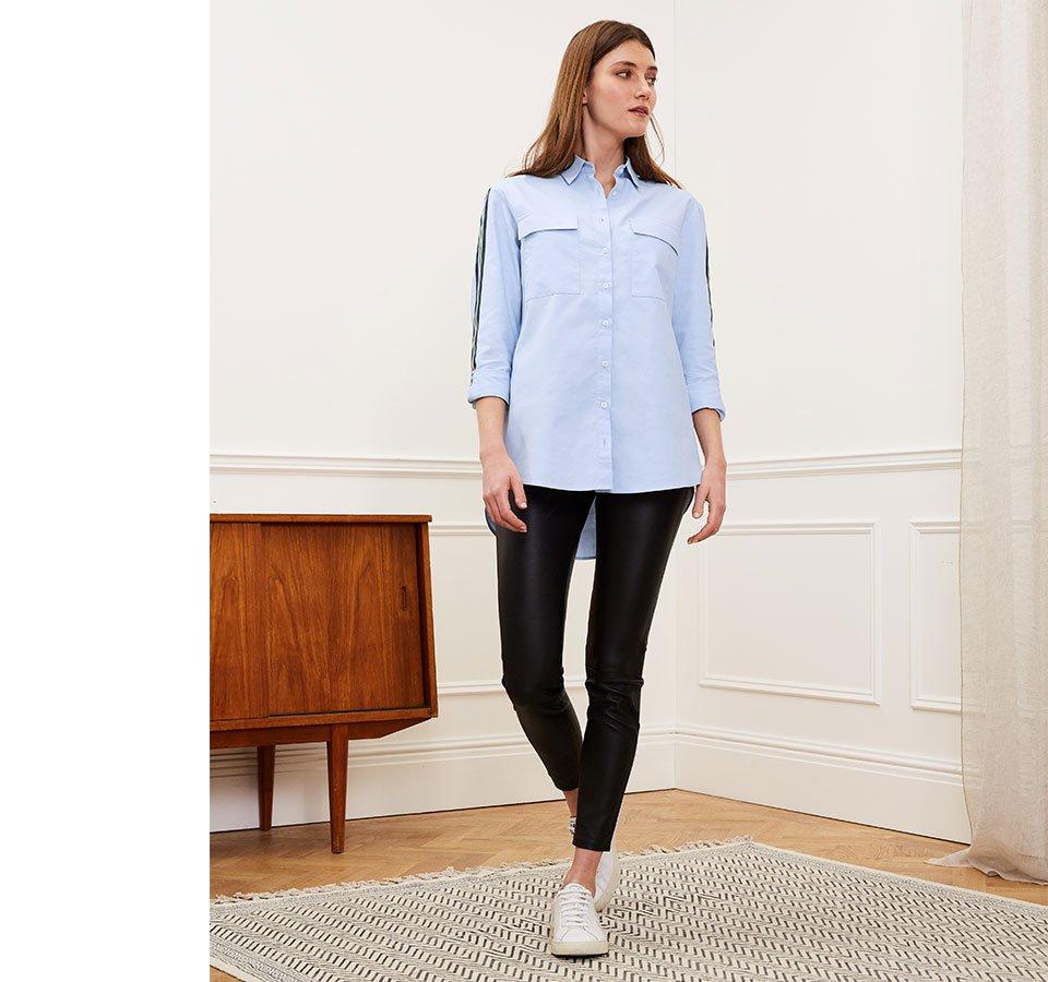 Shop Maya Organic Shirt Light Blue, Liv Leather Leggings Caviar Black and more