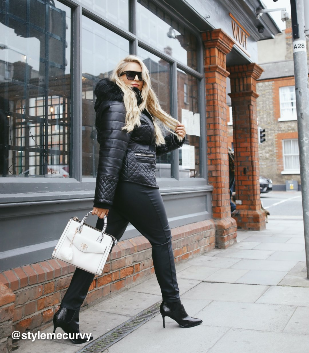 Shop River Island Womens Plus Black faux fur hood belted padded coat, Womens Plus Black coated Molly jeggings, River Island Womens Cream snake print front pocket tote bag, River Island Womens Black wide fit patent pointed toe boots, River Island Womens Black oversized smoke lens sunglasses and more