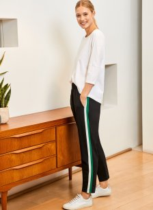 Shop Jay Pant Black with Emerald & Soft White and more