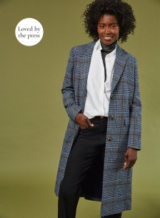 Shop Agnes Coat Blue Check and more