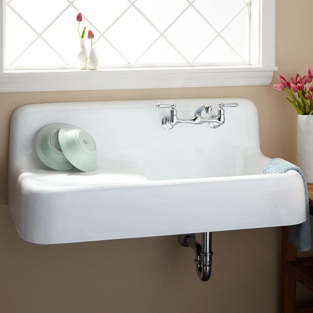 42 Cast Iron Wall Mount Kitchen Sink With Drainboard Kitchen Sinks Sinks