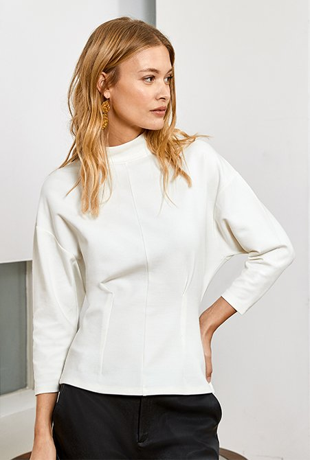 Shop Marianne Top Soft White, Raven Leather Trouser Caviar Black and more