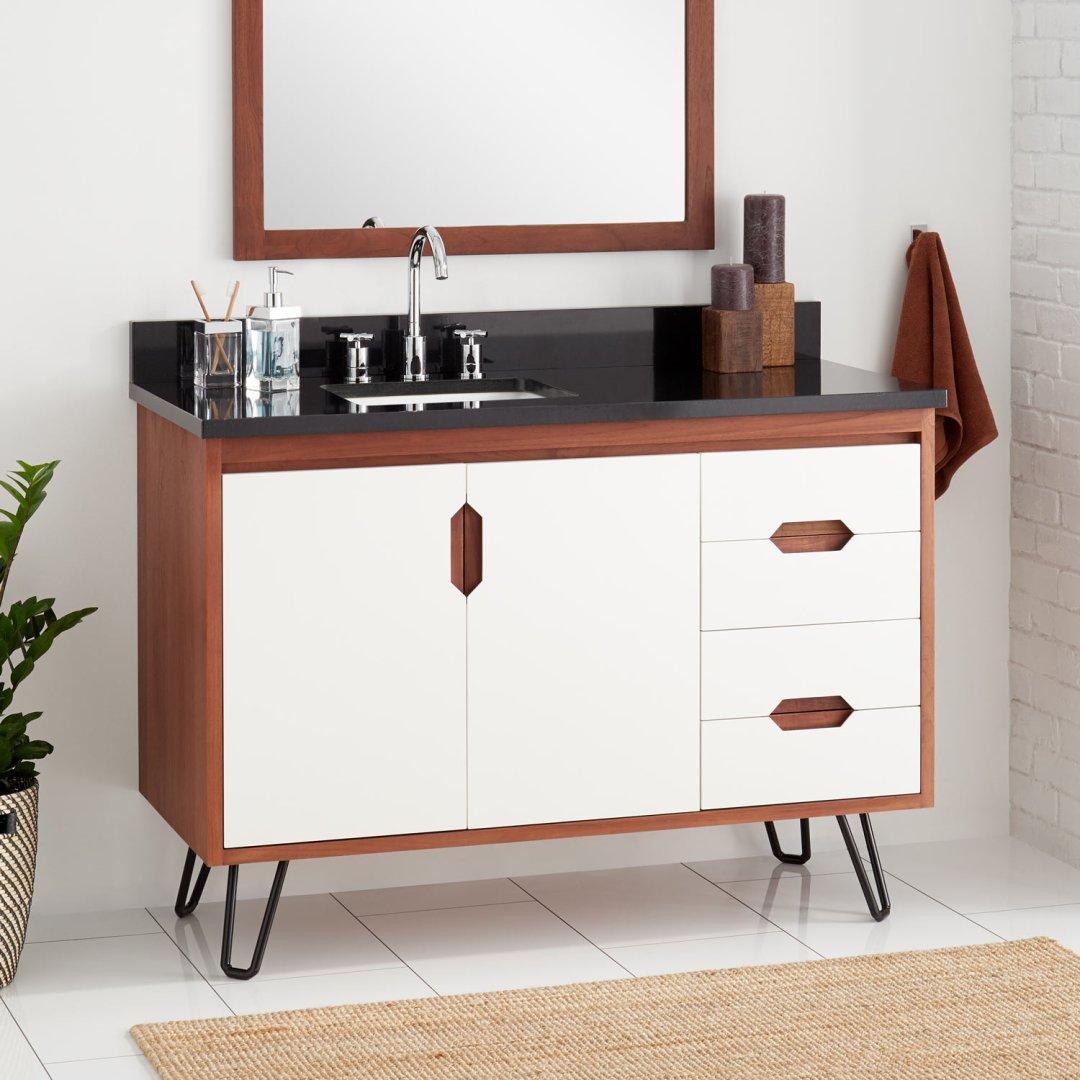 48 Millie Teak Vanity For Left Offset Rectangular Undermount Sink White Cinnamon Bathroom