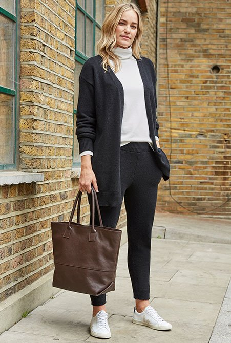 Shop Darcy Eco Cashmere Cardigan Caviar Black, Darcy Eco Cashmere Trouser Caviar Black, Bethan Leather Tote Dark Chocolate Brown and more