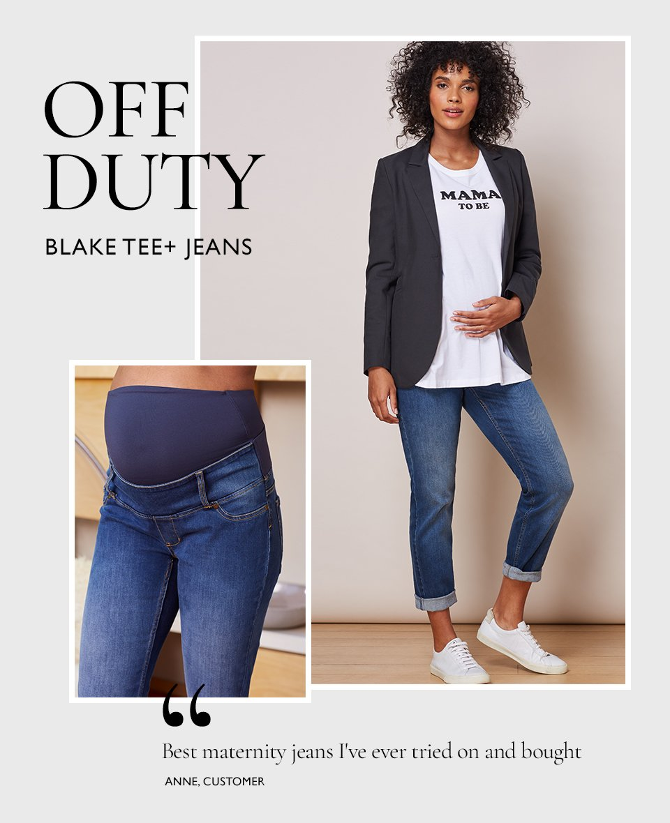 Shop Isabella Oliver Over the bump Maternity Boyfriend Jean-Washed Indigo, Isabella Oliver Josefina Maternity Blazer, Isabella Oliver Blake Maternity Tee-Pure White and more