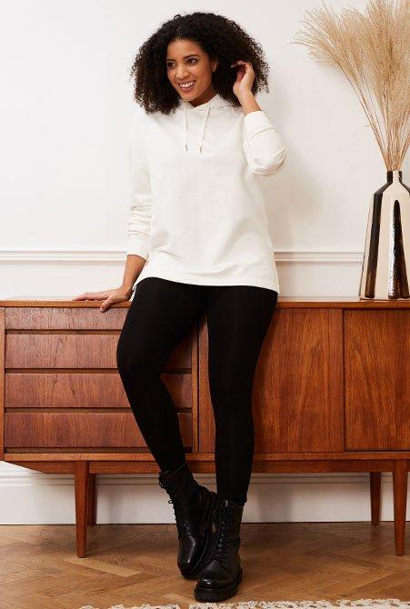 Shop Dakota Organic Hoodie Soft White, Brandi Pocket Leggings with LENZING™ ECOVERO™ Caviar Black and more