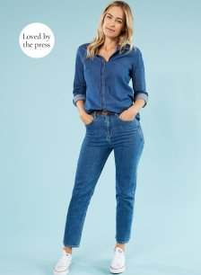 Shop The Girlfriend Jean Washed Blue and more