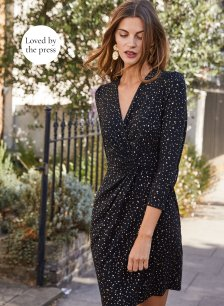 Shop Luella Dress Black with Gold Stars and more