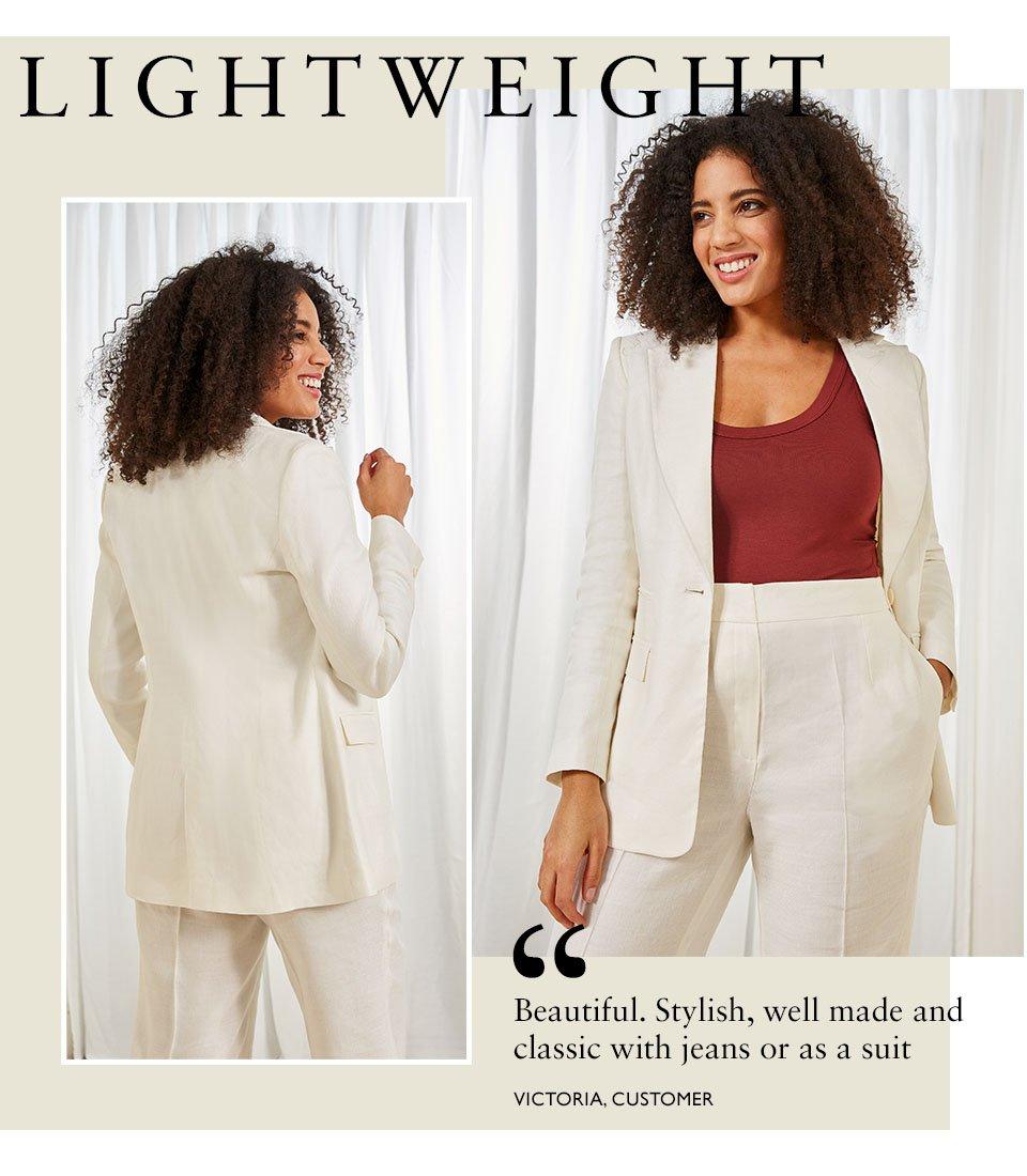 Shop Lena Blazer Soft White, Lena Trousers Soft White, Brenna Top Carob and more