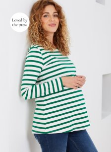 Shop Isabella Oliver Ione Organic Maternity Top-Emerald Green & White Stripe and more
