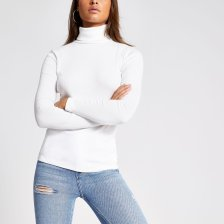 Shop River Island Womens Cream long sleeve roll neck ribbed top and more