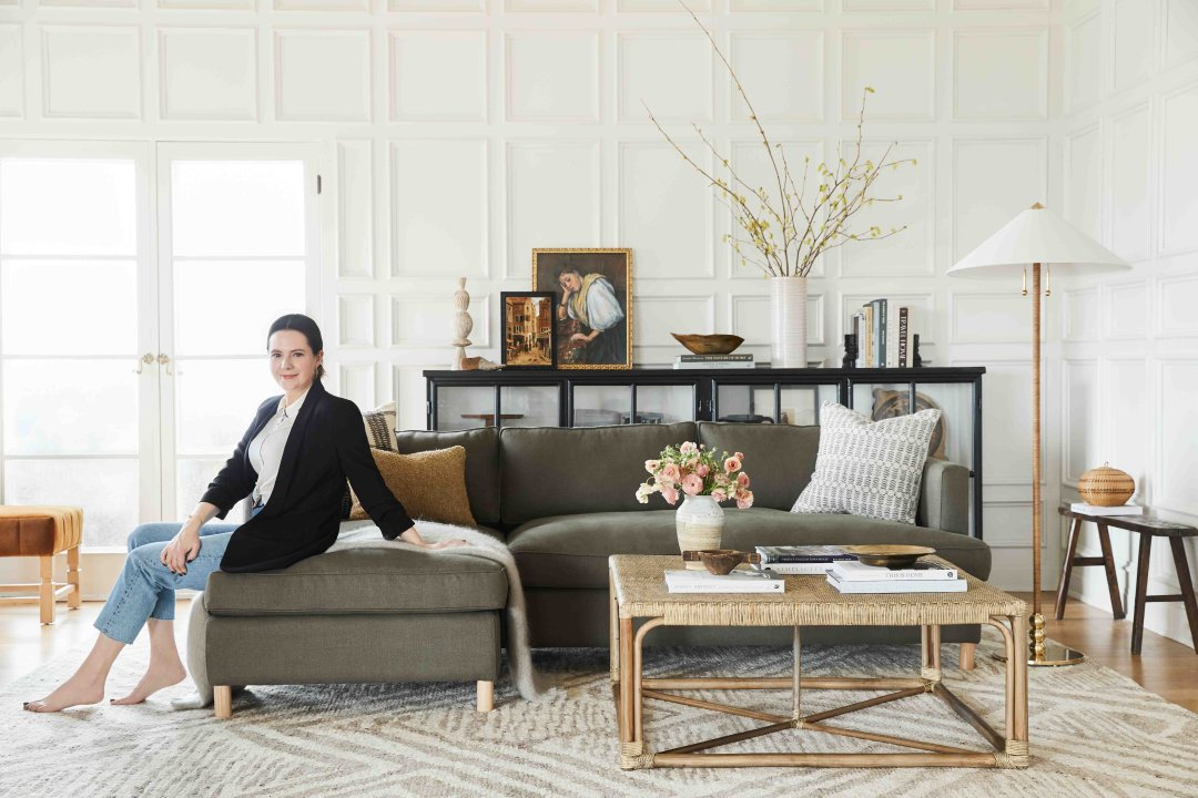 Shop Belmont Linen Left-Facing Sectional Sofa, Loden By Ginny Macdonald, Ambleside Velvet Ottoman, Cognac By Ginny Macdonald and more