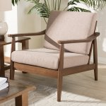 Venza Mid-Century Modern Walnut Wood Light Brown Fabric Upholstered Lounge Chair