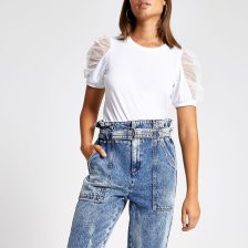 Shop River Island Womens White mesh puff short sleeve T-shirt and more