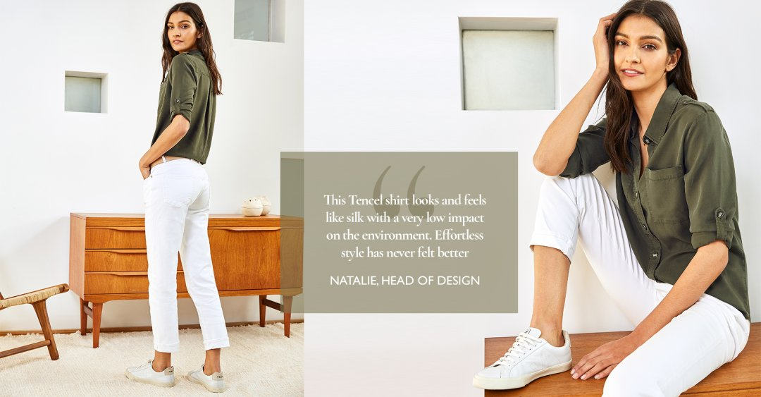 Shop Lindon Tencel™ Safari Shirt Dark Khaki, Boyfriend Jean Off White and more