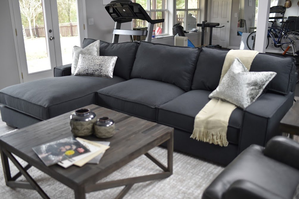 Shop Gamaliel 2-Piece Sectional with Chaise, Charcoal, Haroflyn Coffee Table, Gray and more