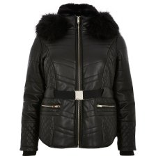 Shop River Island Womens Plus Black faux fur hood belted padded coat and more