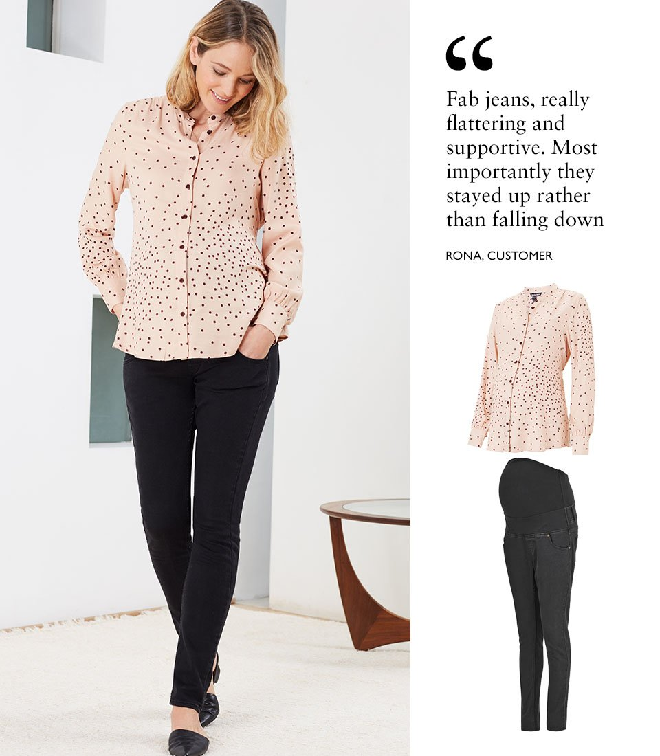 Shop Isabella Oliver Juniper Maternity Blouse-Light Peach Polka, Isabella Oliver Super Stretch Maternity Skinny Jean-Caviar Black and more