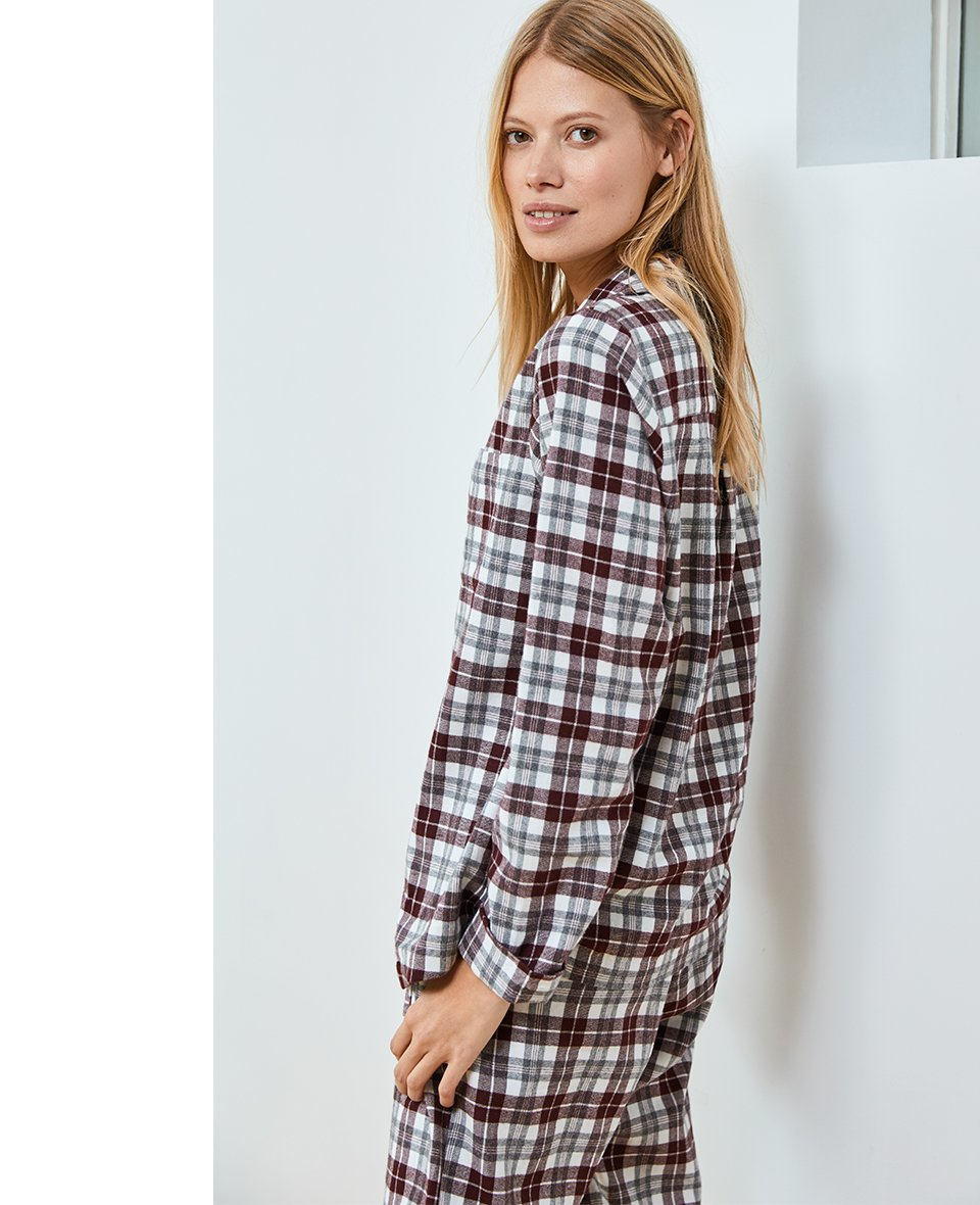 Shop Margie Pyjamas Soft White & Darkest Fig Check and more
