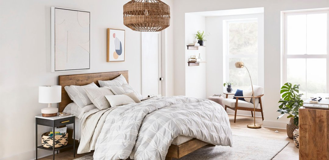Curated image with Anton Bed, Queen, Mid-Century Show Wood Upholstered Chair, Chunky Basketweave,...