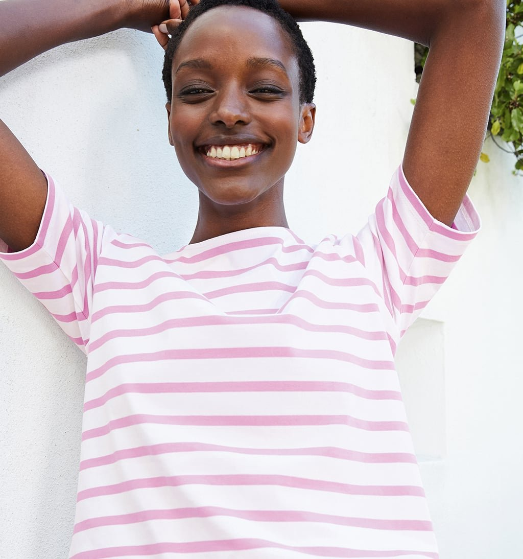 Shop Emma Organic Classic Top Pink & White Stripe and more