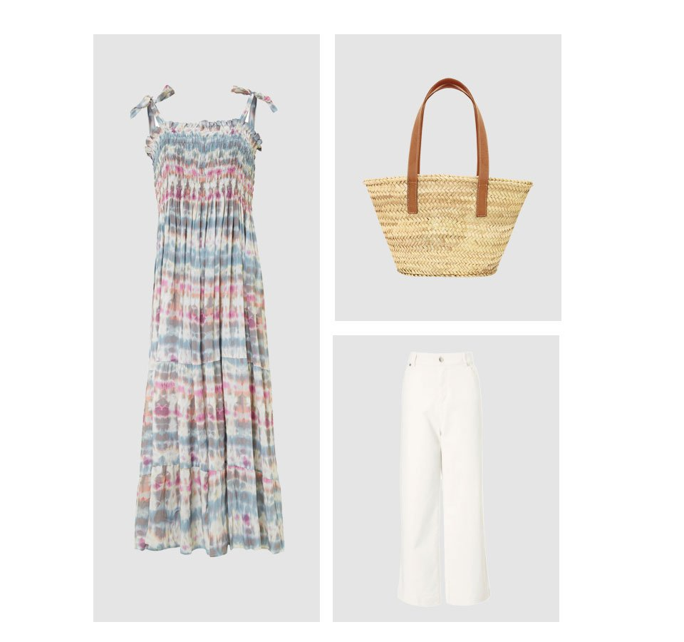 Shop Cora Straw Bag Natural, Gail Jean Off White, Aoife Dress with LENZING™ ECOVERO™ Pink & Blue Tie Dye Print and more