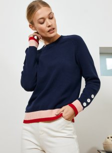 Shop Nyla Jumper Navy with Pink & Red and more