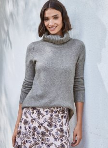 Shop Erica Roll Neck Mid Grey Marl and more