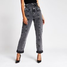 Shop River Island Womens Grey acid wash paperbag waist utility jeans and more