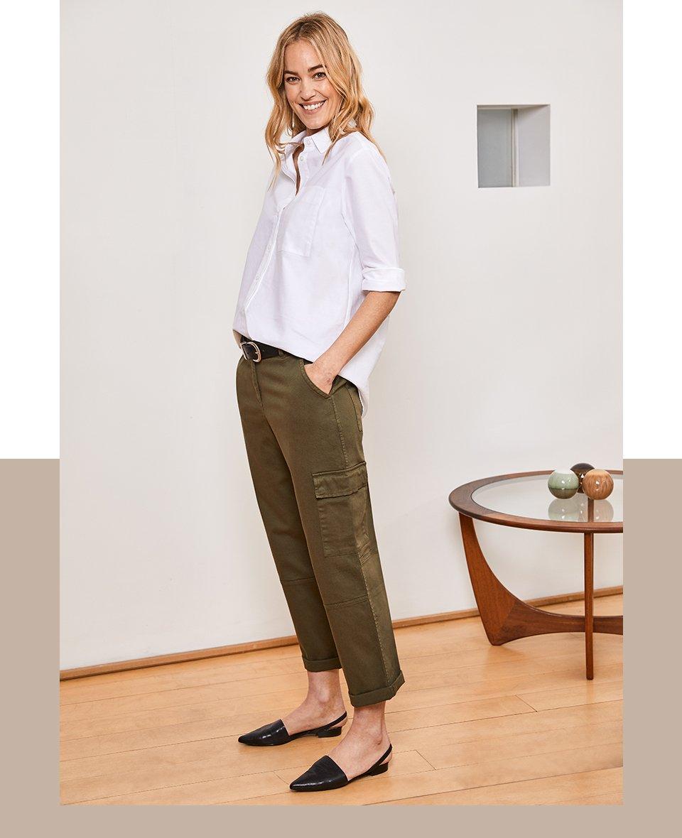Shop Relaxed Cargo Trousers Dark Khaki, Baukjen Signature Gold Buckle Belt Caviar Black and more