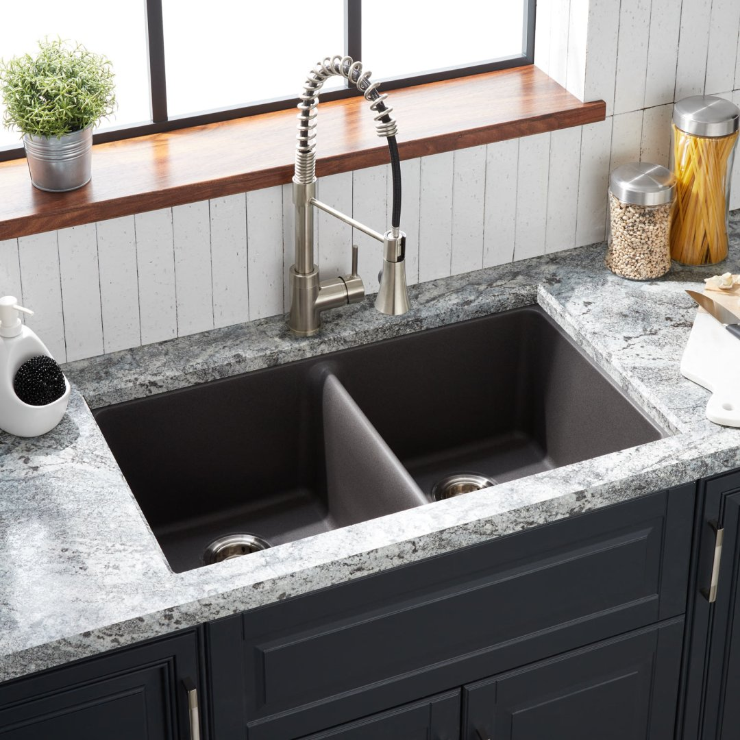 33 Totten Double Bowl Granite Composite Drop In Kitchen Sink Gray Kitchen