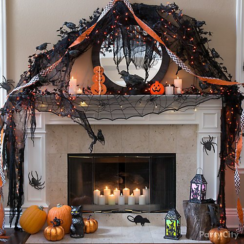 Shop Black Cheesecloth Drape, L/U PMPKN, White Streamer, Silver Chevron Streamer, Black Leaf Garland, Orange LED String Lights, 3D GLTTR PMPKN DECO, Black Raven, Black Crow, Black & Orange Tip Spiders 36ct, Gray & Black Mice 28ct, 9CT GLTTR C/O SPIDER, 9CT C/O MICE SILHOUETTE, 96IN BLK LACE SCRF MNTL COBWEB, Light-Up LED Halloween Lantern, Large White Pillar Candles 2ct, Mini White Votive Candles 6ct, Large White Votive Candles 12ct and more